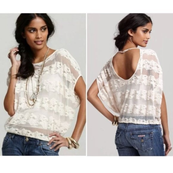 Free People County Fair Banded Lace Boho Blouse